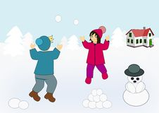 Playing in the Snow stock illustration