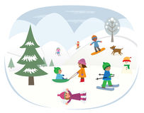 Playing In The Snow. Cute children are playing in the snow. Eps10 Royalty Free Stock Images