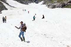 Playing in snow, Jammu and Kashmir, India Stock Photos