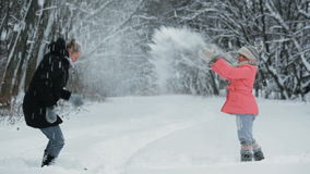 Playing With Snow in the Park stock video footage