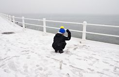 Playing with the snow Royalty Free Stock Photo