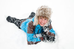 Playing in snow storm Royalty Free Stock Photography