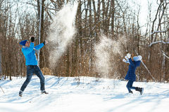 Playing in the snow in winter Stock Image