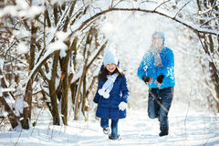 Playing in the snow in winter Royalty Free Stock Photography