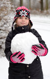 Playing with snowball Royalty Free Stock Image