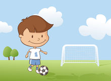 Playing Soccer Boy Stock Image