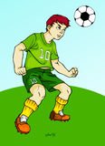 Playing soccer - heading Royalty Free Stock Photos