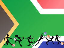 Playing soccer in south africa flag background Royalty Free Stock Photo