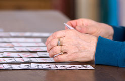 Playing solitaire Stock Image