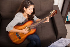 Playing some music with guitar Stock Photos