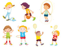 Playing sport. An illustration of children playing different sports Royalty Free Stock Photo