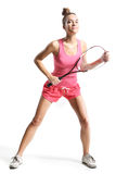 Playing squash. Beautiful athletic woman with squash racket Royalty Free Stock Photo