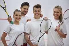 Playing squash with friends. The best idea for free time is the squash Royalty Free Stock Photos