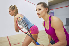 Playing squash with friends Stock Photography