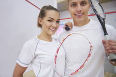 Playing squash with friends. We love playing squash together Stock Images