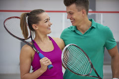 Playing squash with friends. Playing in squash make us happy Stock Photography