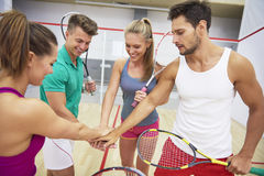 Playing squash with friends. Motivation before the next squash game Royalty Free Stock Image