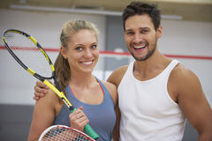 Playing squash with friends. We`re playing together all the time Royalty Free Stock Photos