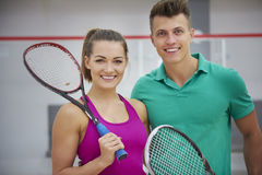 Playing squash with friends. Ready for playing with friend Royalty Free Stock Photo