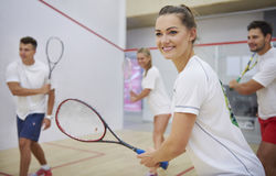 Playing squash with friends. Ready? Let`s start the game Royalty Free Stock Photo