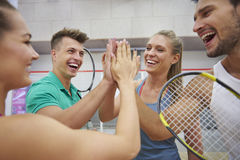 Playing squash with friends. Today`s game was really good Royalty Free Stock Photos