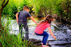 Playing by a Stream. Two little kids exploring and playing by a stream in the woods. Shallow depth of field Stock Images