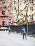 Playing in Stuyvesant Square stock photo