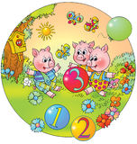 Playing sucking-pigs stock illustration