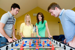 Playing Table Football Stock Photography