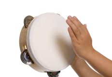 Playing the tambourine royalty free stock photos