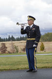 Playing taps at veterans funeral. Royalty Free Stock Photo