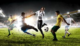 Playing team games. Mixed media stock image
