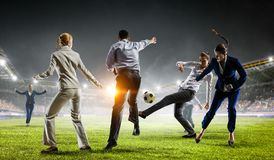 Playing team games. Mixed media stock images