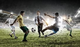 Playing team games. Mixed media stock photography