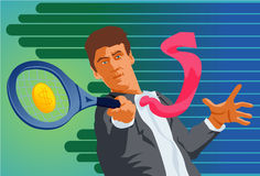 Playing Tennis In A Business Suit??!! Stock Images
