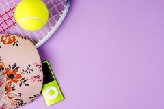 Playing tennis, sport practising, leisure activities royalty free stock photography