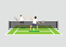 Playing Tennis in Tennis Court Vector Illustration Royalty Free Stock Photography