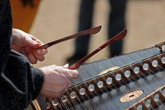 Playing The Hammered Dulcimer2 Stock Photos