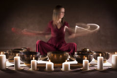 Playing Tibetan bowls Stock Photo