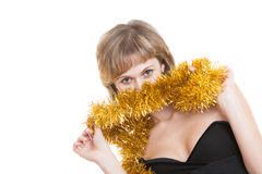Playing with tinsel sexy girl Stock Photography