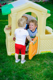 Playing in tiy house Stock Image