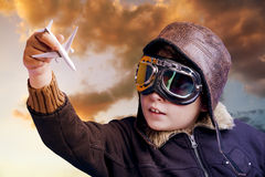 Playing to be a professional pilot Royalty Free Stock Photo