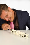 Playing to domino Stock Image