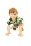 Playing toddler over white Stock Image