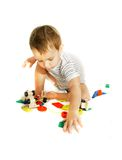 Playing toddler over white Royalty Free Stock Photos