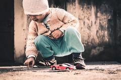 Playing With Toy Cars Royalty Free Stock Photos