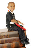 Playing a Toy Electric Guitar Royalty Free Stock Images