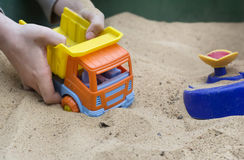 Playing A Toy Truck Royalty Free Stock Images