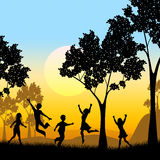 Playing Tree Represents Kids Youngsters And Childhood. Playing Kids Meaning Tree Trunk And Treetop Stock Photography