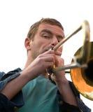 Playing a trombone Stock Photo